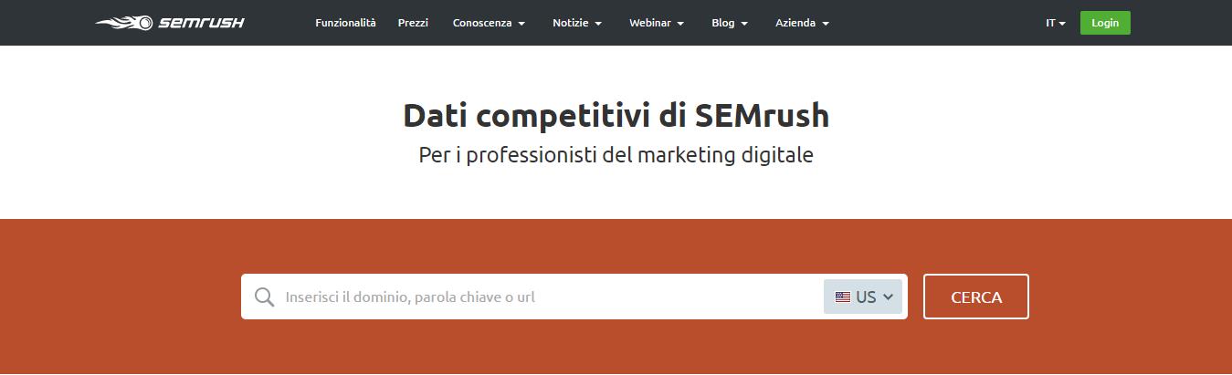 La cta sulla homepage di SEMrush