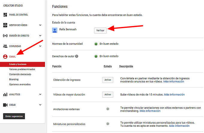 Crear canal Youtube - Funciones canal YouTube