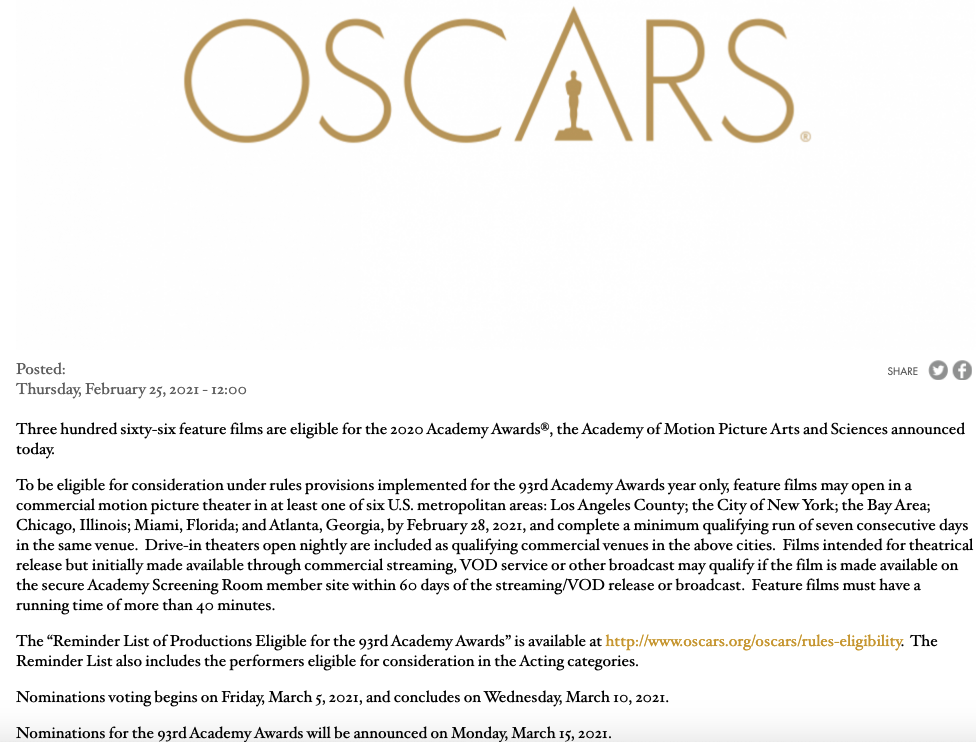 2021 Oscars press release