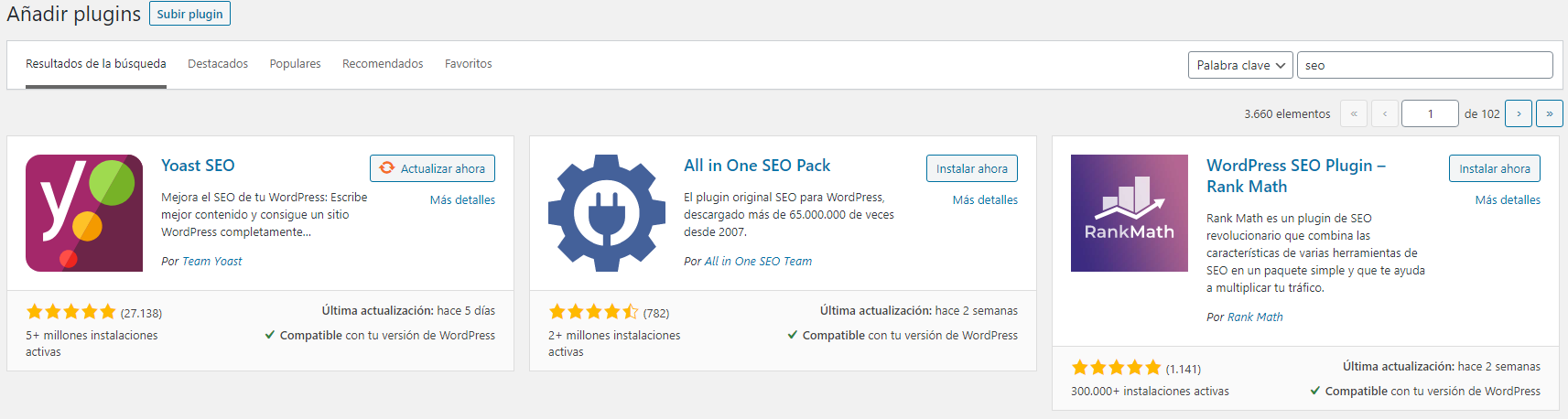 Wordpress SEO checklist - Instalar plugins