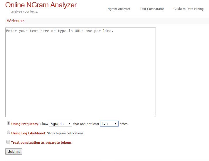 Strategia di ottimizzazione delle keyword di domanda: Online NGram Analyzer