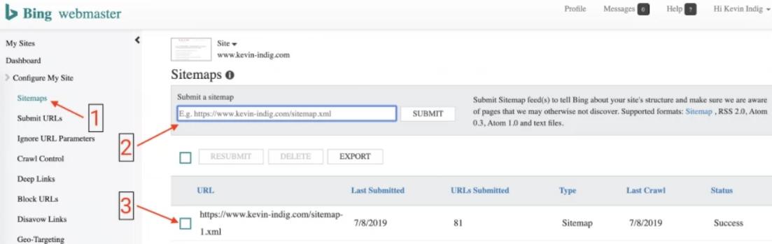 Les sitemaps XML dans Bing Webmaster Tools