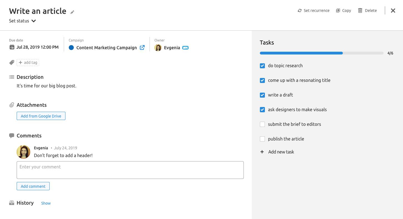 Tasks in Marketing Calendar tool