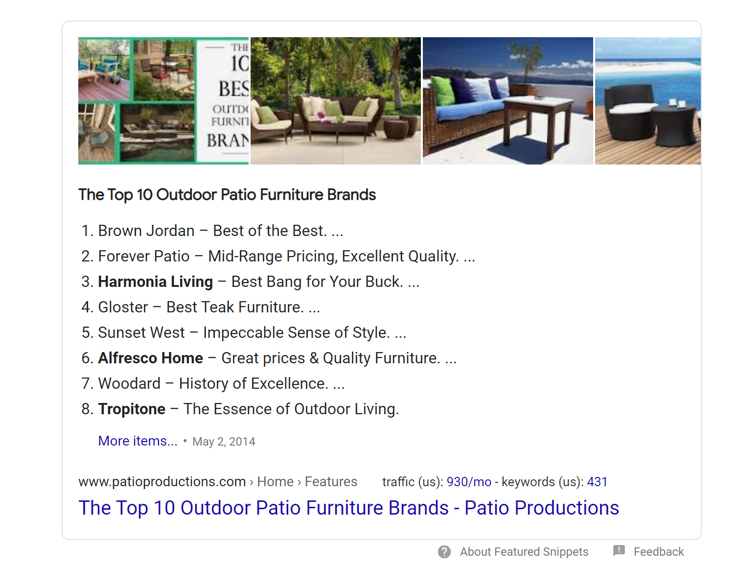 Featured Snippets example screenshot