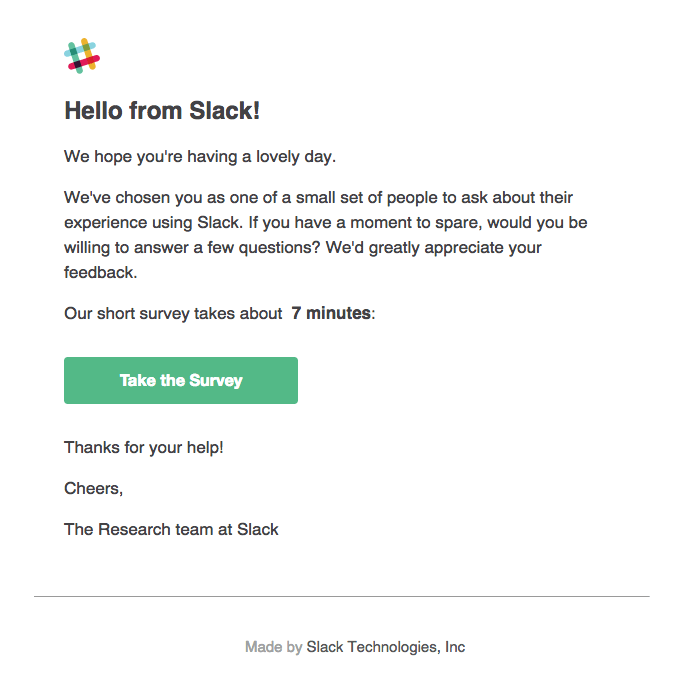 Slack Survey screenshot