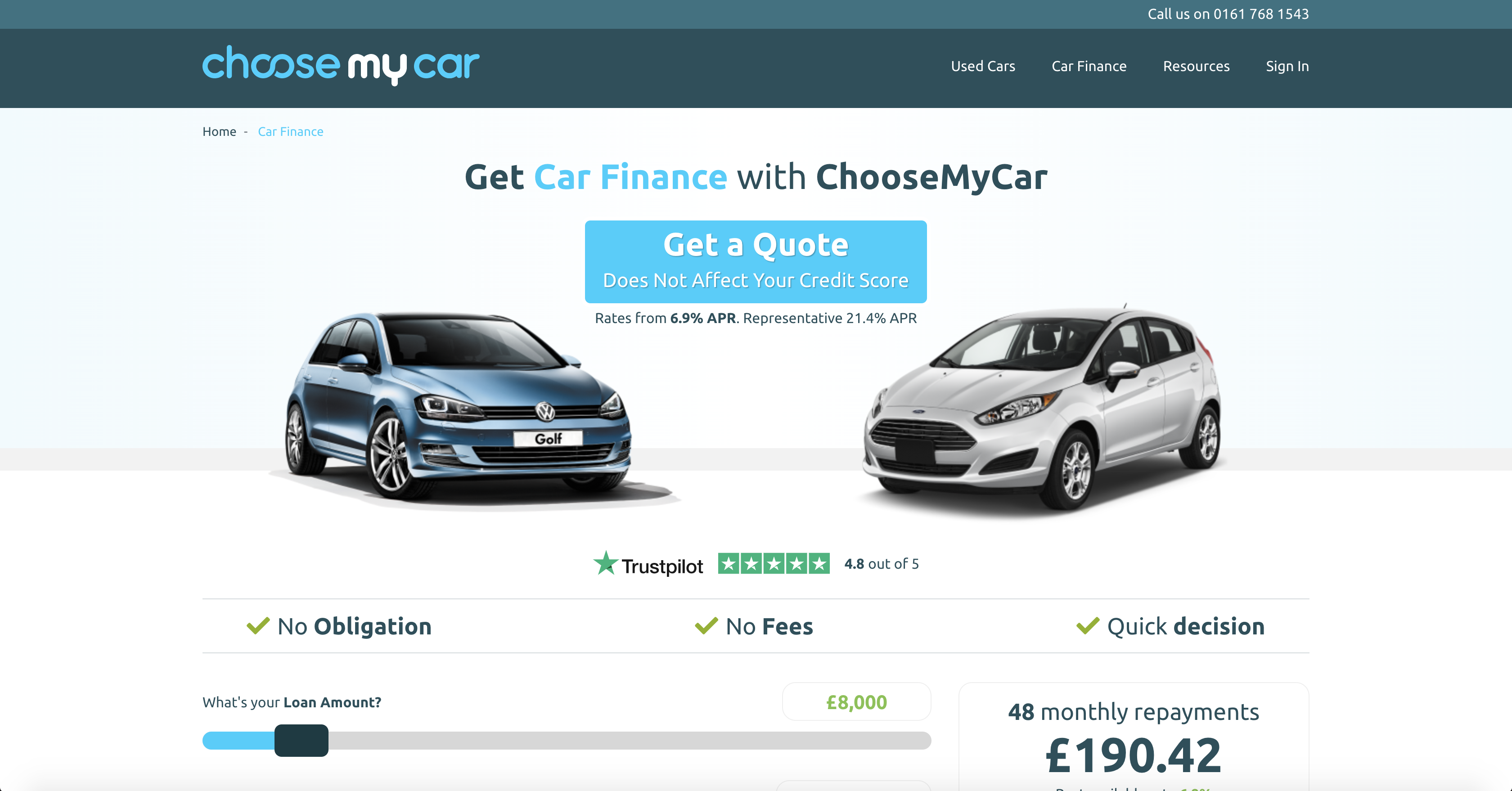 ChooseMyCar Car Finance Page