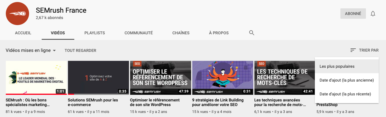 Les pages de concurrents sur Youtube pour la recherche de mots-clés