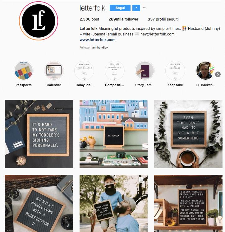 Segui l'account di LetterFolk su Instagram