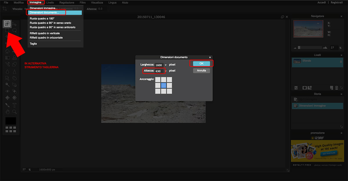Come ottimizzare le immagini online: Pixlr - Ritagliare l'immagine