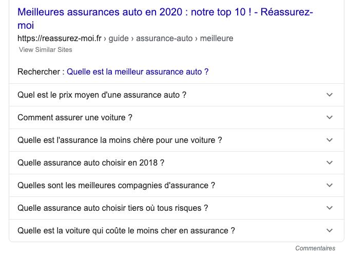 People Also Ask Google pour la recherche de mots clés