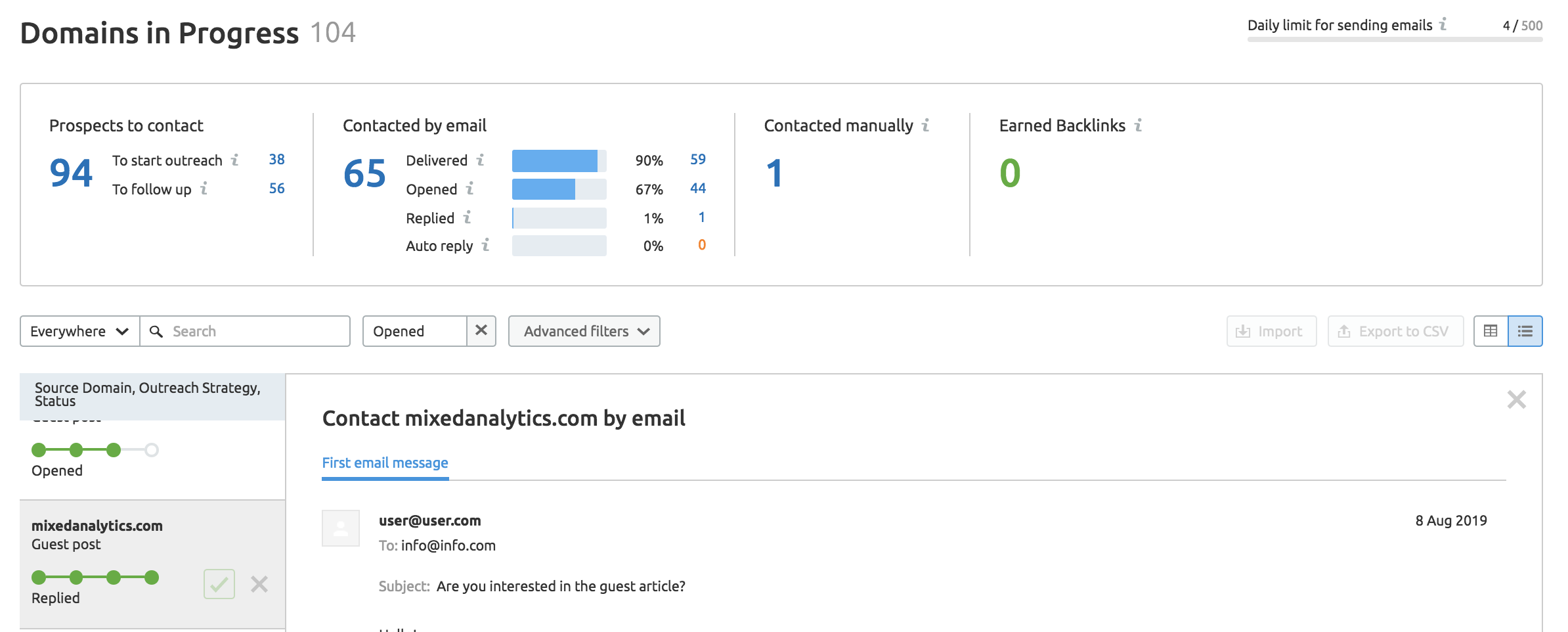 Outreach progress widget in SEMrush Link Building Tool