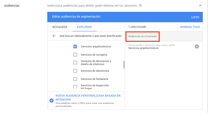 Google Display Network - Audiencias en mercado