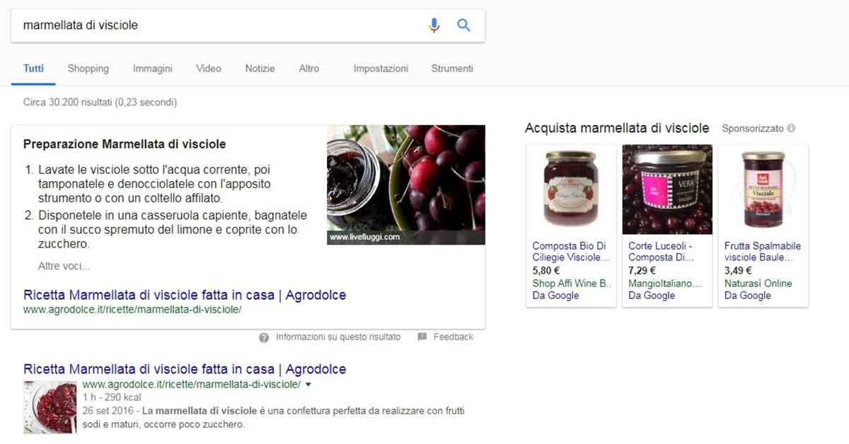 Intenti commerciali e keyword: risultati su Google per marmellata di visciole
