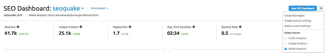 Dashboard SEO: dati di Adobe analytics