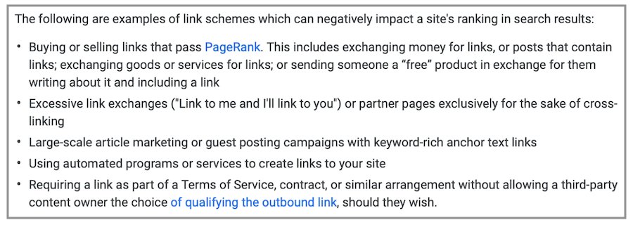 linee guida di google per schemi di link