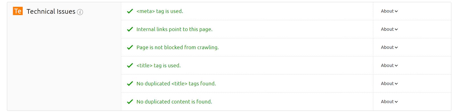 Captura de tela do Verificador de SEO na página