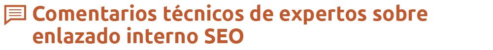 Enlazado interno SEO - Comentarios técnicos de expertos