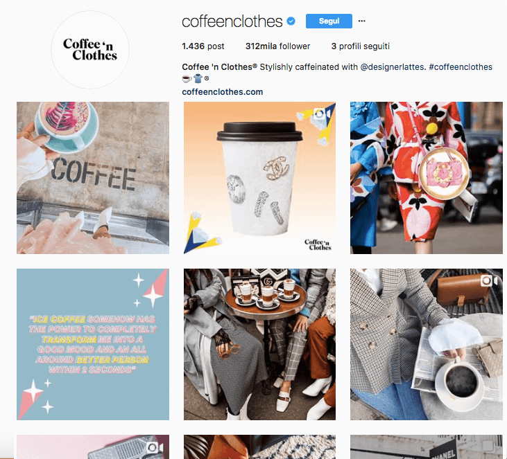 Account Instagram di Coffee 'N Clothes