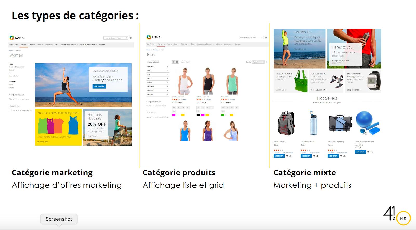 types de catégories Magento