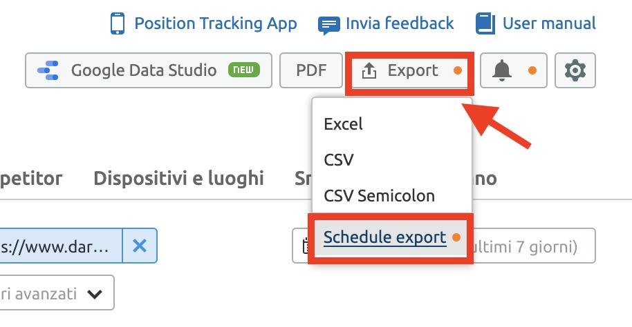 Nuova funzione: Programmare report di Position tracking