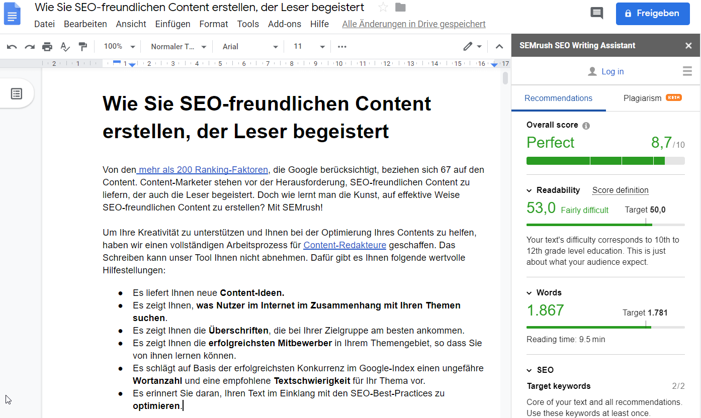 Der SEO Writing Assistant im Google-Dokument