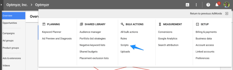 Scripts in new AdWords interface