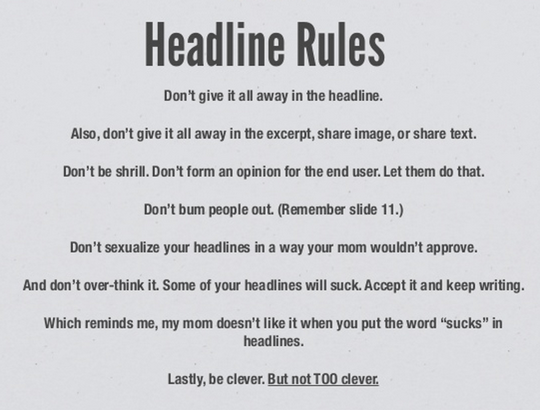 UpWorthy's Headline Rules