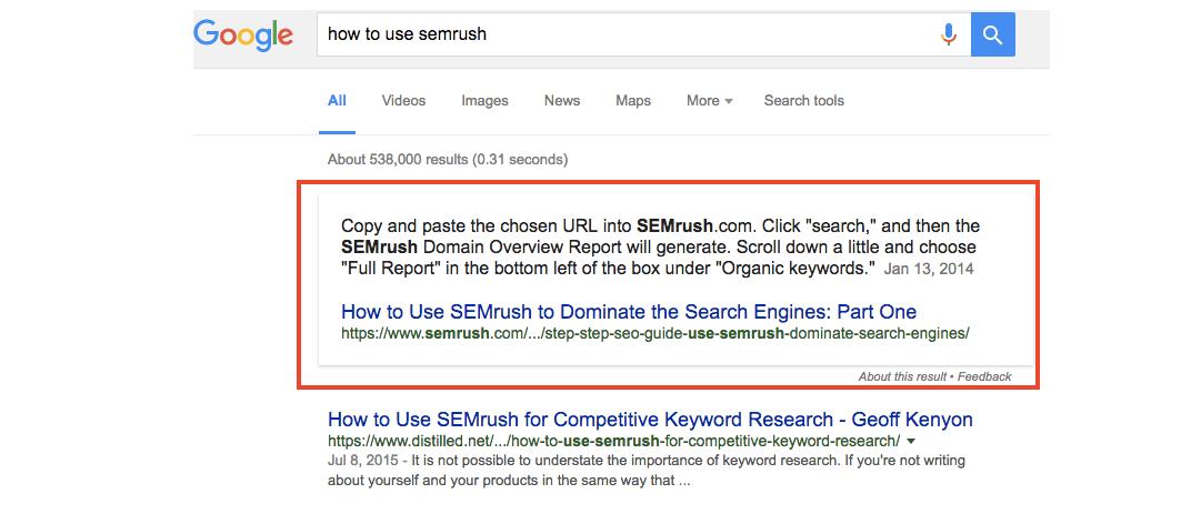 Come Featured Snippet migliora il tuo posizionamento sui motori di ricerca