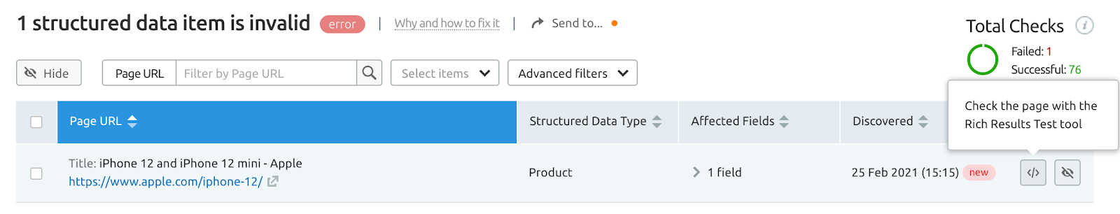 structured data site audit tool