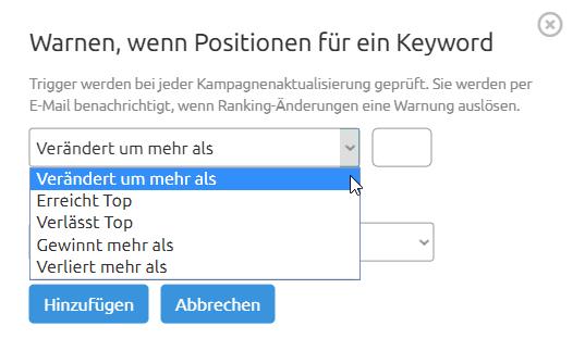 Position Tracking: Benutzerdefinierte Benachrichtigungen