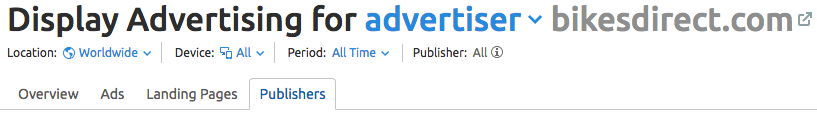 Scheda Publisher su display advertising tool