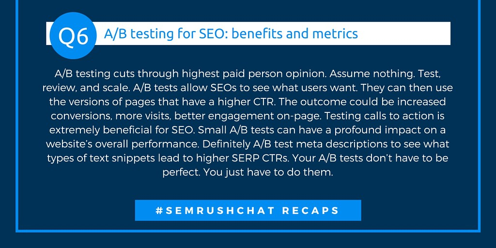 A/B testing for SEO: benefits and metrics