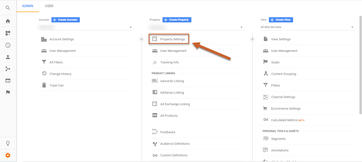 Google Analytics Admin Panel Property Settings