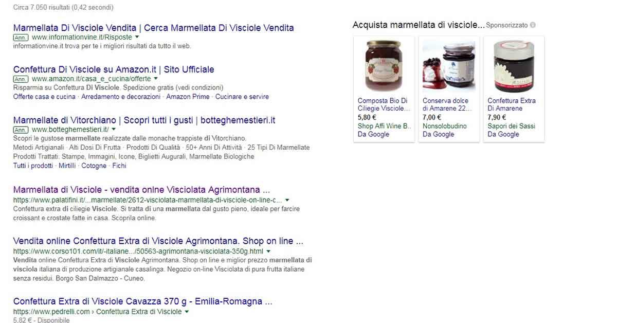 Intenti commerciali di una keyword: esempio pagina di ricerca di Google