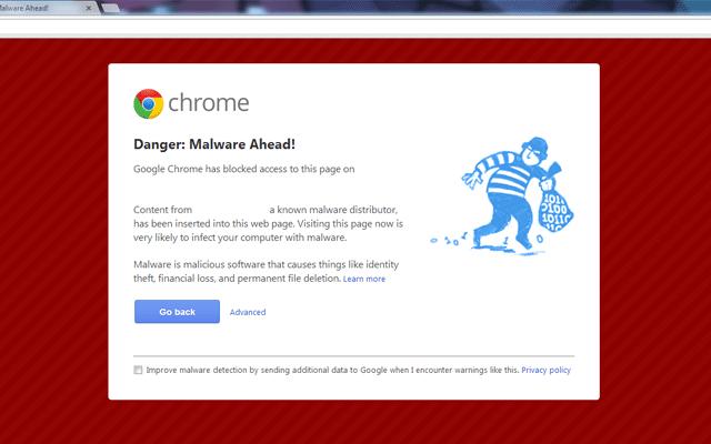malware warning chrome