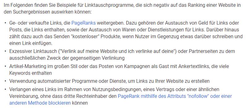 Screenshot: Google-Richtlinien zu Linktauschprogrammen