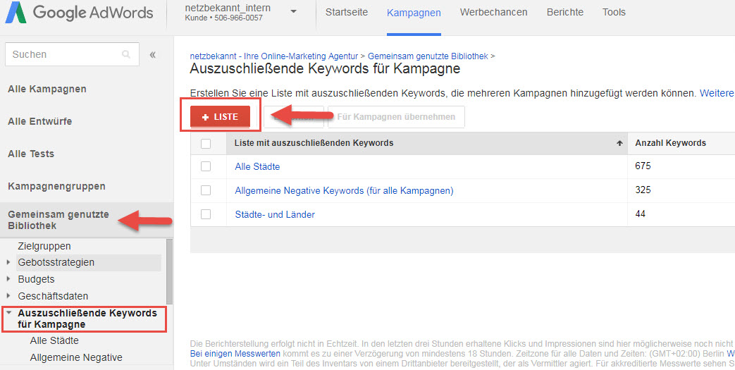 Google Ads Liste negativer Keywords