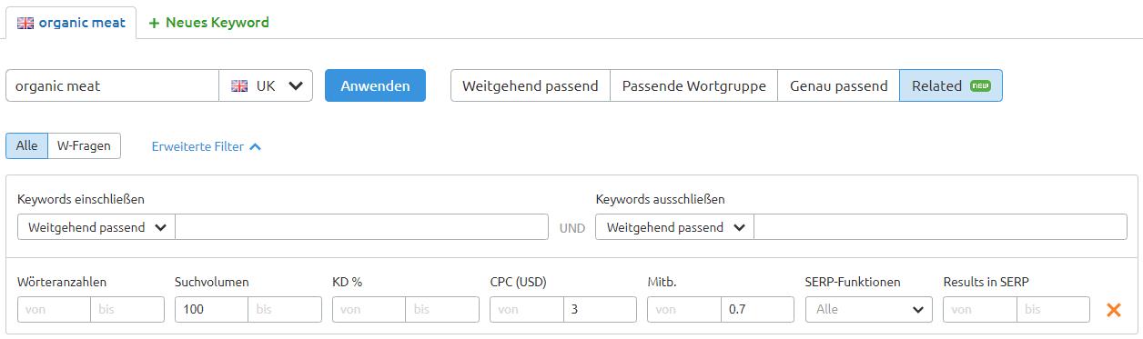 Keyword Magic Tool: Erweiterte Filter