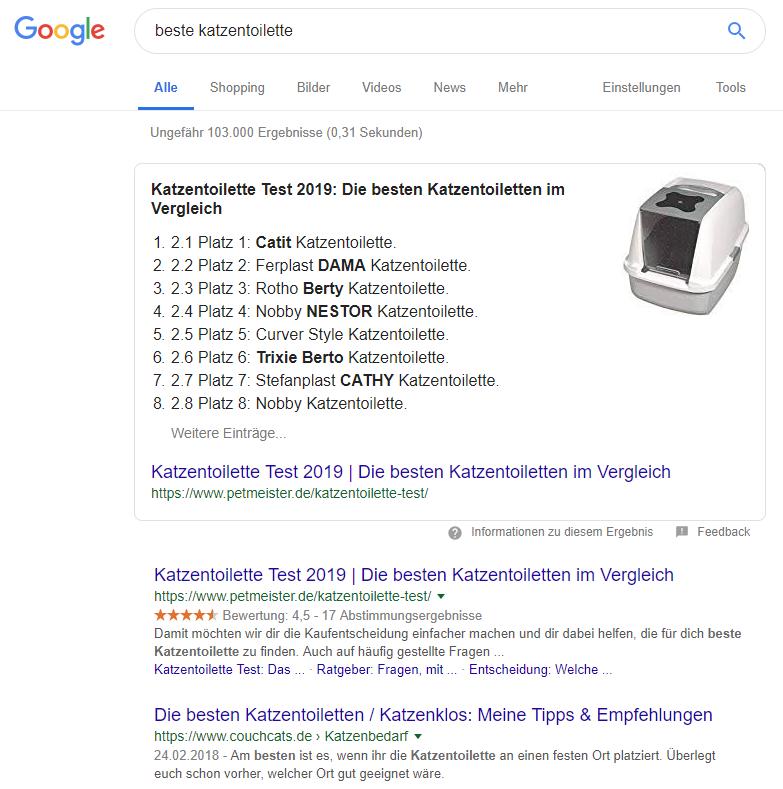 Google-Suchergebnis für 'beste Katzentoilette'