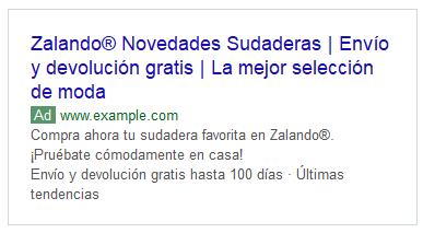 """Ejemplo de anuncio para la búsqueda """"sudaderas"""" - Campañas de Google Ads"""