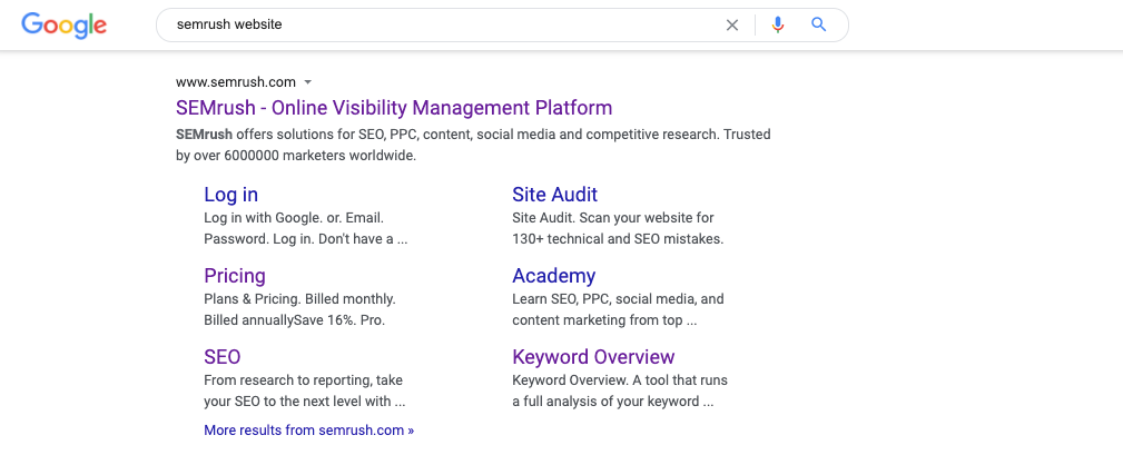 Sitelinks SERP feature