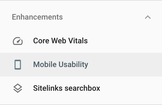 Showing Mobile Usability report in the Google Search Console