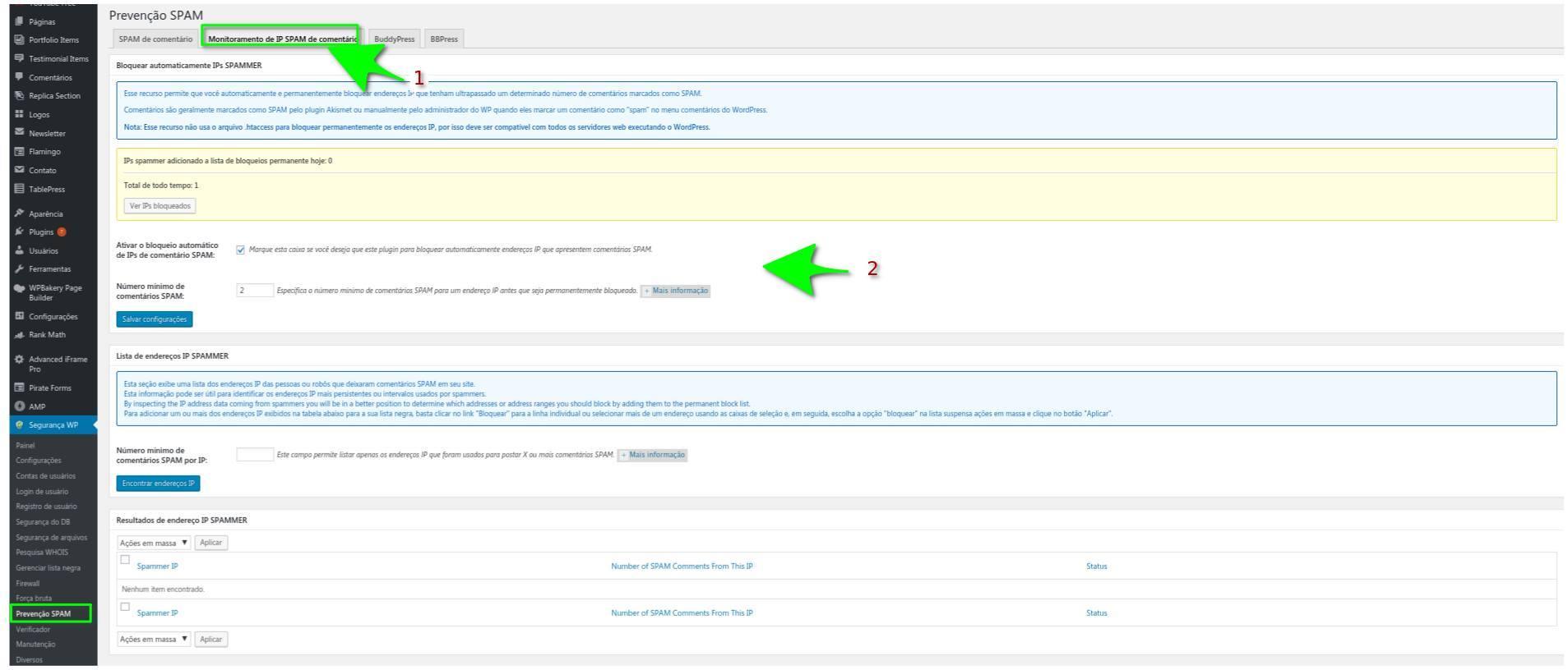 Monitoramento de IP SPAM de comentário - All in One WP Security