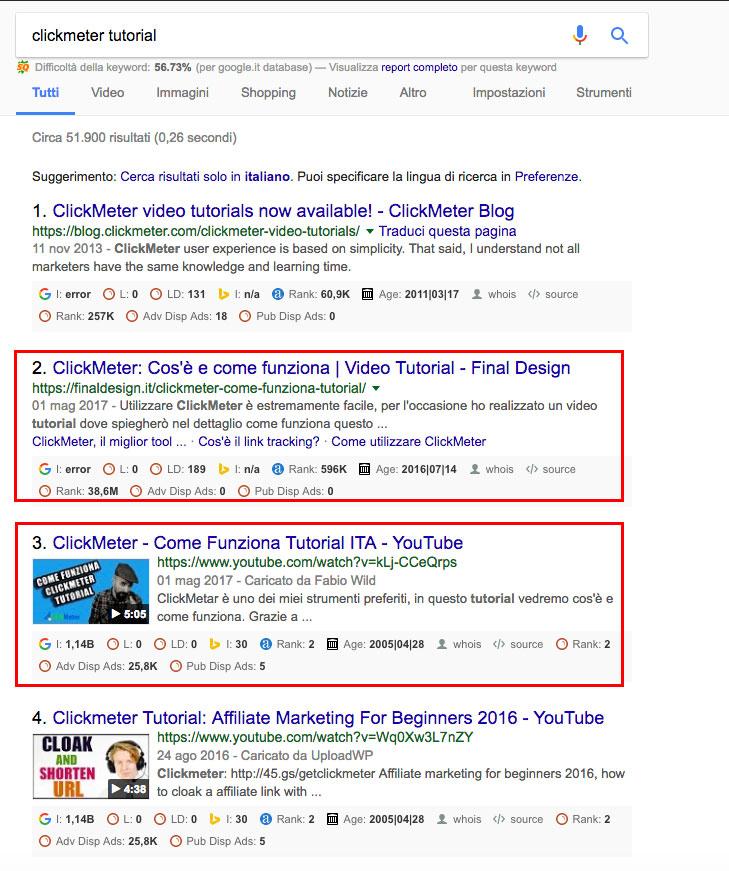 Esempio di video posizionato su Google