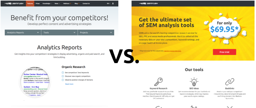 SEMrush Features page split test