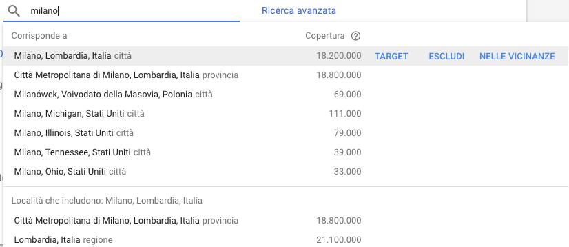 Opzioni di targeting geografico delle campagne di Google Ads