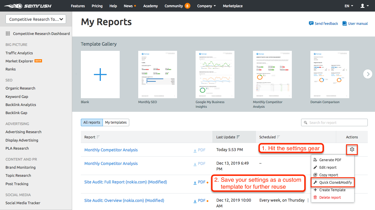 Automated Competitor Monitoring and Reporting with SEMrush. Bild 6