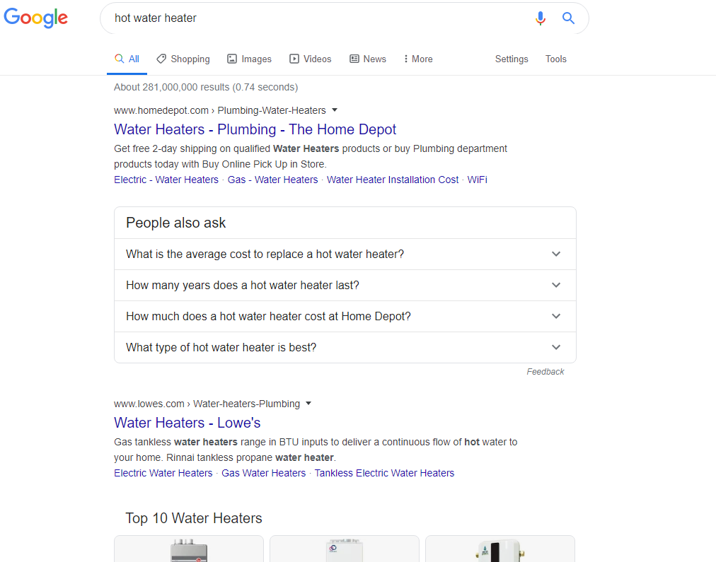 Google SERP results with features including people also ask.