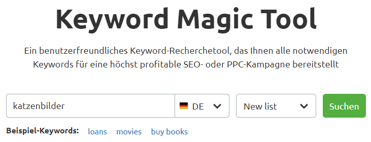 Keyword Magic: Mit Seed-Keyword starten
