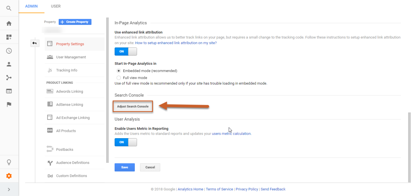 Search Console Integration on Analytics